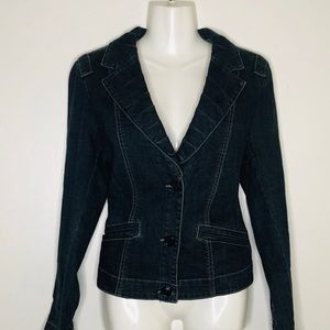 CABi Jeans raffled neckline modern style Jacket